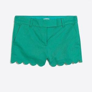 Scallop shorts in bright patina green